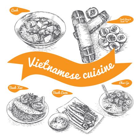 ベトナム料理と伝統料理の白黒ベクトル イラスト
