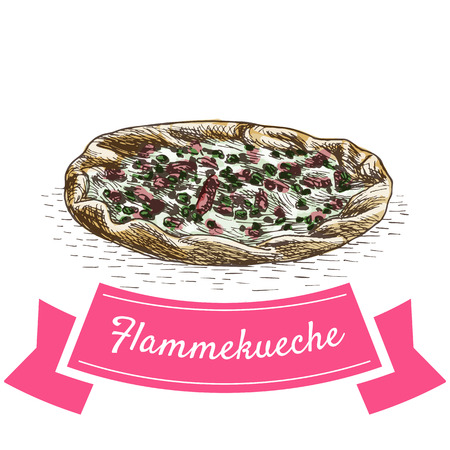 sour cream: Flammekueche colorful illustration. Vector illustration of French cuisine.