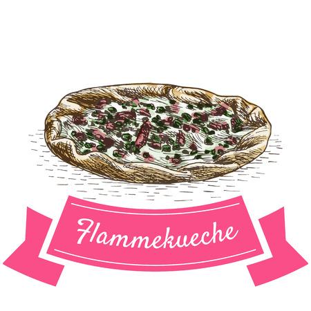 Flammekueche colorful illustration. Vector illustration of French cuisine.