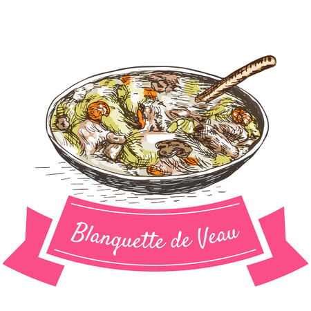 cooked rice: Blanquette de Veau colorful illustration. Vector illustration of French cuisine. Illustration