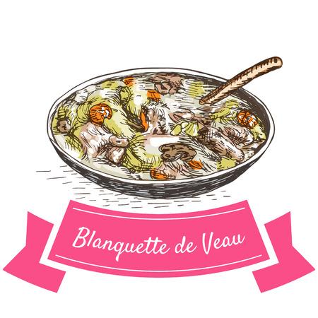 Blanquette de Veau illustration colorée. Vector illustration de la cuisine française. Vecteurs
