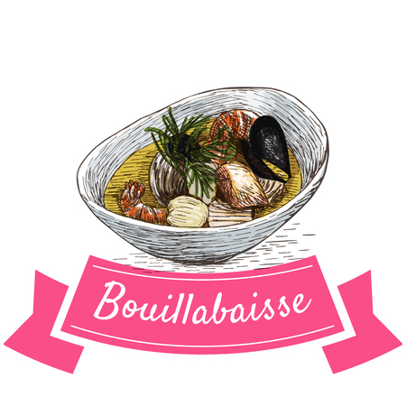 homemade bread: Bouillabaisse colorful illustration. Vector illustration of French cuisine.