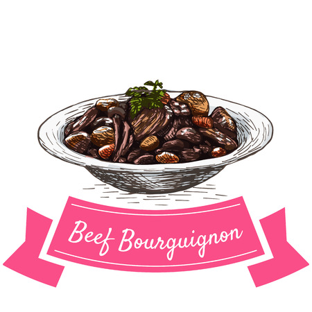 burgundy: Beef Bourguignon colorful illustration. Vector illustration of French cuisine.
