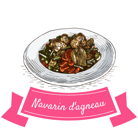 crock: Navarin dAgneau colorful illustration. Vector illustration of French cuisine.