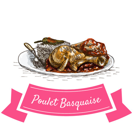 Poulet Basquaise colorful illustration. Vector illustration of French cuisine.