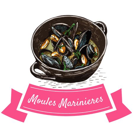 Moules Marinieres colorful illustration. Vector illustration of French cuisine.
