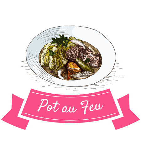 Pot au Feu coloré illustration. Vector illustration de la cuisine française.