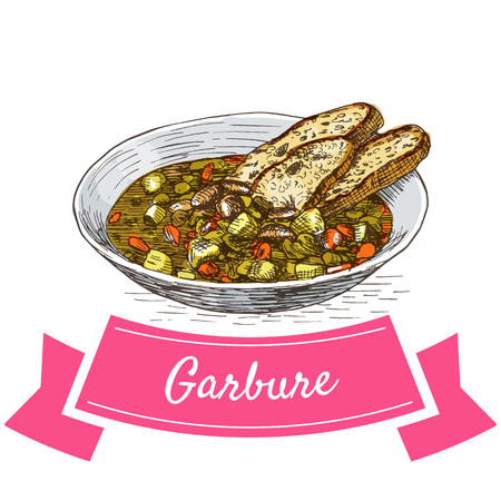 french culture: Garbure colorful illustration. Vector illustration of French cuisine. Illustration