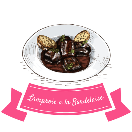 Lamproie a la Bordelaise colorful illustration. Vector illustration of French cuisine.