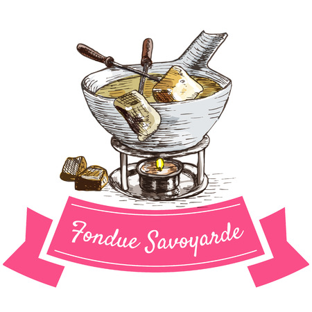 Fondue Savoyarde colorful illustration. Vector illustration of French cuisine. Illustration