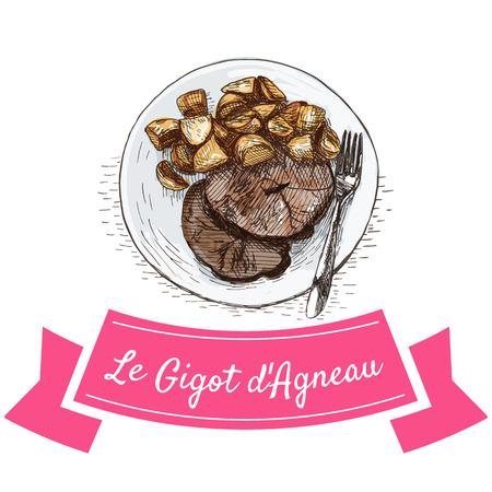 Le Gigot dAgneau colorful illustration. Vector illustration of French cuisine.