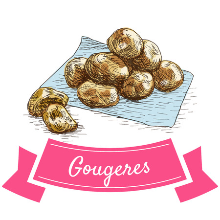 Gougeres colorful illustration. Vector illustration of French cuisine.