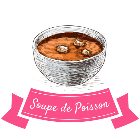 chowder: Soupe de Poisson colorful illustration. Vector illustration of French cuisine.