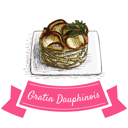 Gratin Dauphinois colorful illustration. Vector illustration of French cuisine.