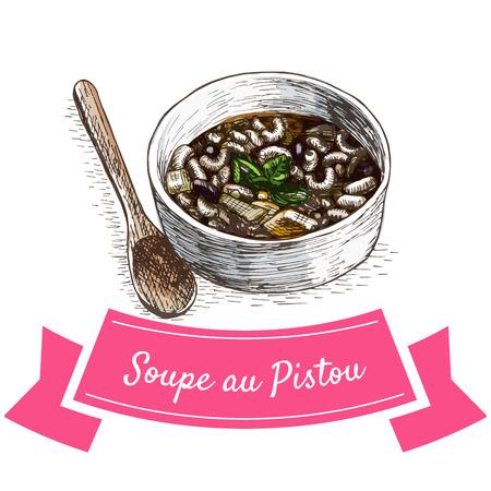 courgette: Soupe au Pistou colorful illustration. Vector illustration of French cuisine.