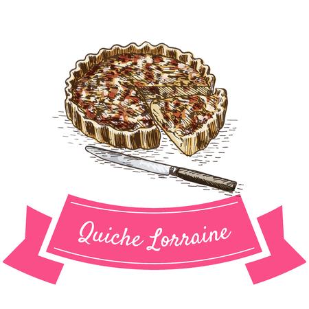 Quiche Lorraine colorful illustration. Vector illustration of French cuisine.
