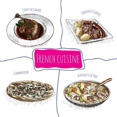 Français menu coloré illustration. Vector illustration de la cuisine française.