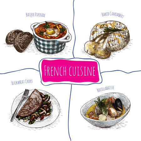 pimento: French menu colorful illustration. Vector illustration of French cuisine.