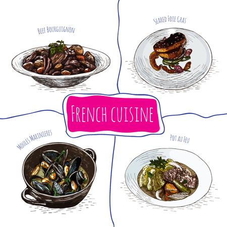goulash: French menu colorful illustration. Vector illustration of French cuisine.