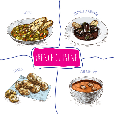 popular soup: French menu colorful illustration. Vector illustration of French cuisine.
