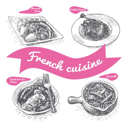 Monochrome vector illustration of French cuisine and cooking traditions Stock Illustratie