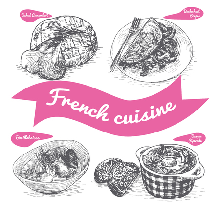 pimento: Monochrome vector illustration of French cuisine and cooking traditions Illustration