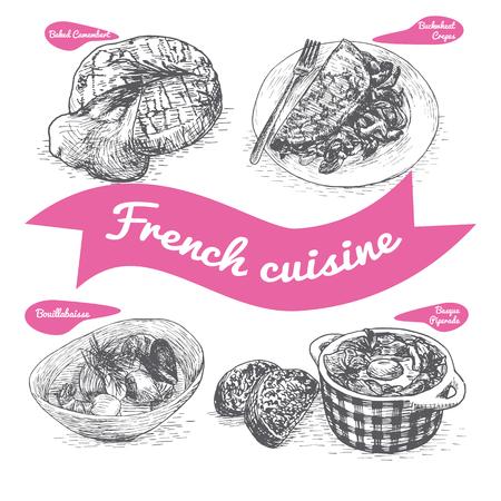 vecteur Monochrome illustration de la cuisine française et les traditions culinaires