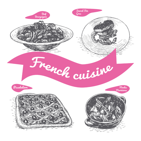 goulash: Monochrome vector illustration of French cuisine and cooking traditions Illustration