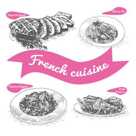 Monochrome vector illustration of French cuisine and cooking traditions Vettoriali