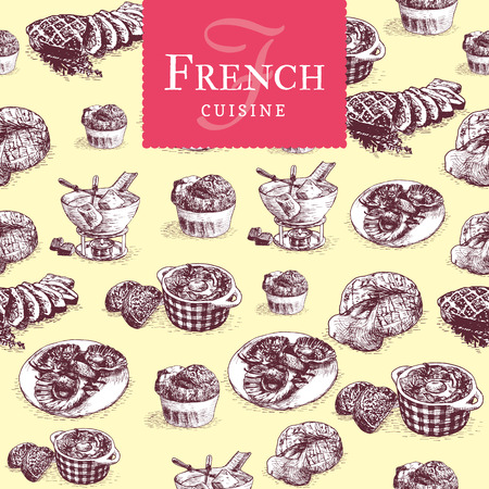 Vector colorful illustration of French cuisine. Vector illustration in seamless background Illustration
