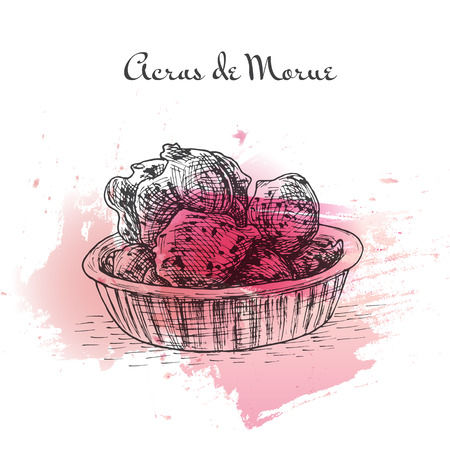french culture: Acras de Morue watercolor effect illustration. Vector illustration of French cuisine.
