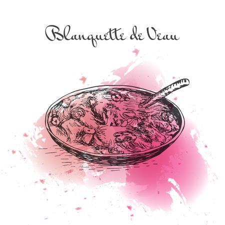Blanquette de Veau aquarel effect illustratie. Vectorillustratie van de Franse keuken.