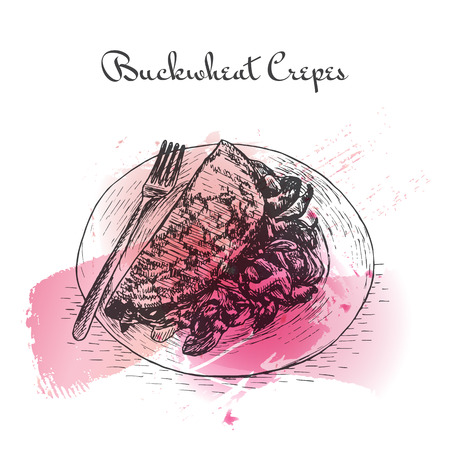 french culture: Buckwheat Crepes watercolor effect illustration. Illustration