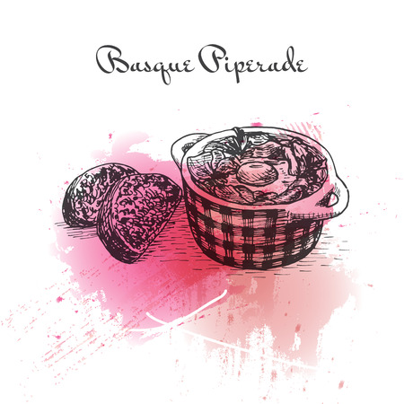 pimento: Basque Piperade watercolor effect illustration. Vector illustration of French cuisine.