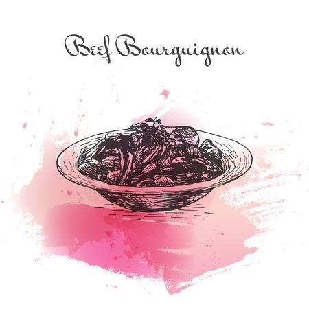 Illustrazione di effetto acquerello di Bourguignon di manzo. Illustrazione vettoriale della cucina francese. Vettoriali