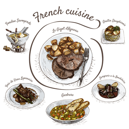 dipping: French menu colorful illustration. Vector illustration of French cuisine.
