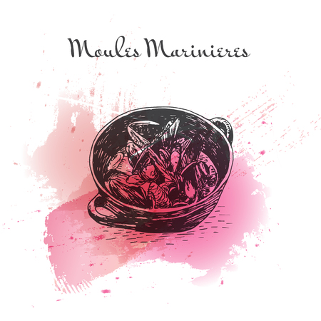 french culture: Moules Marinieres watercolor effect illustration. Vector illustration of French cuisine.