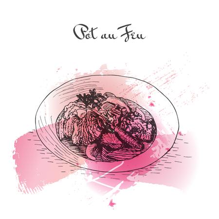 Pot au Feu watercolor effect illustration. Vector illustration of French cuisine.