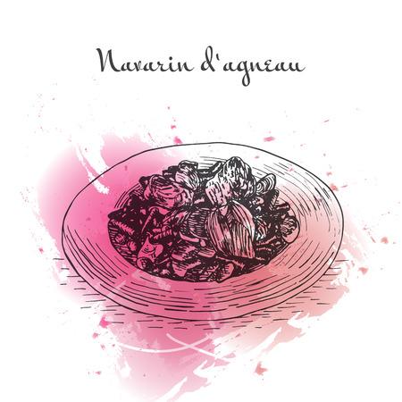 Navarin dAgneau watercolor effect illustration. Vector illustration of French cuisine.