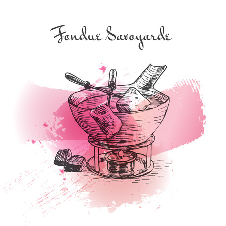 Fondue Savoyarde watercolor effect illustration. Vector illustration of French cuisine.