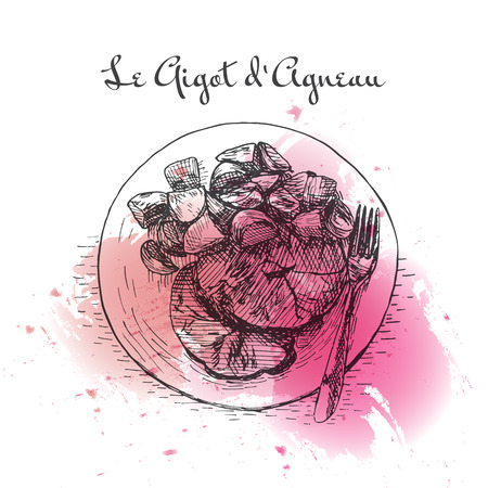 Le Gigot dAgneau watercolor effect illustration. Vector illustration of French cuisine.