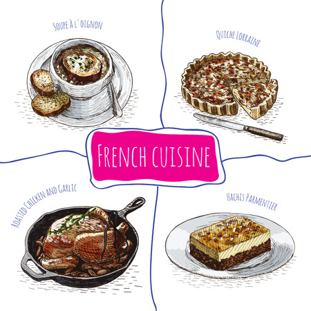 french culture: French menu colorful illustration. Vector illustration of French cuisine.