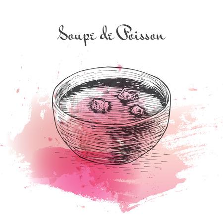 chowder: Soupe de Poisson watercolor effect illustration. Vector illustration of French cuisine.