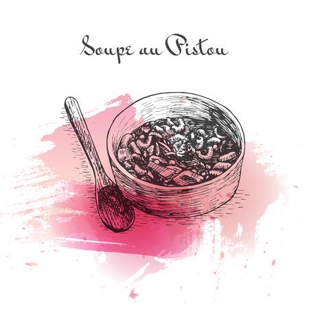 courgette: Soupe au Pistou watercolor effect illustration. Vector illustration of French cuisine.