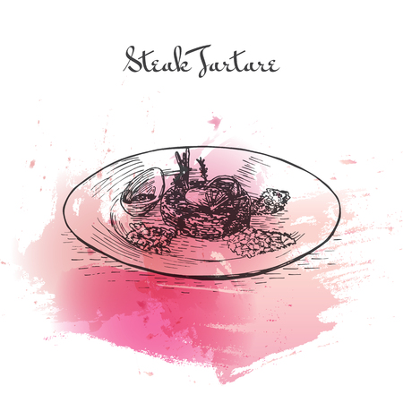 french toast: Steak Tartare watercolor effect illustration. Vector illustration of French cuisine.