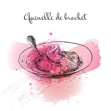 Quenelle de Brochet watercolor effect illustration. Vector illustration of French cuisine. Illustration