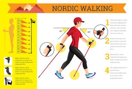 Vector geïllustreerd infographics set met Nordic Walking data. De vlakke illustratie van sportactiviteiten voor de gezondheid levensstijl. Vector Illustratie