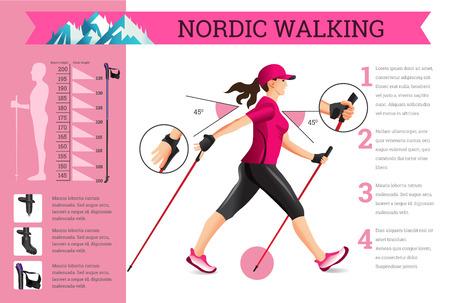 Vector ilustrado infografía con datos de Nordic Walking. La ilustración plana de actividades deportivas para el estilo de vida de salud.