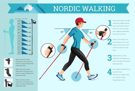 Vector geïllustreerd infographics set met Nordic Walking data. De vlakke illustratie van sportactiviteiten voor de gezondheid levensstijl. Stock Illustratie