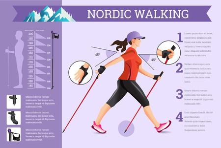 Vector ilustrado infografía conjunto con los datos de marcha nórdica. La ilustración plana de actividades deportivas para la vida de la salud.
